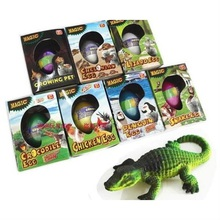 7pcs/lot Novel Dinosaur Penguin Crocodile Chicken Snake Tortoise Lizard Cracks Growing Eggs Educational Science Bionics Toys(China (Mainland))