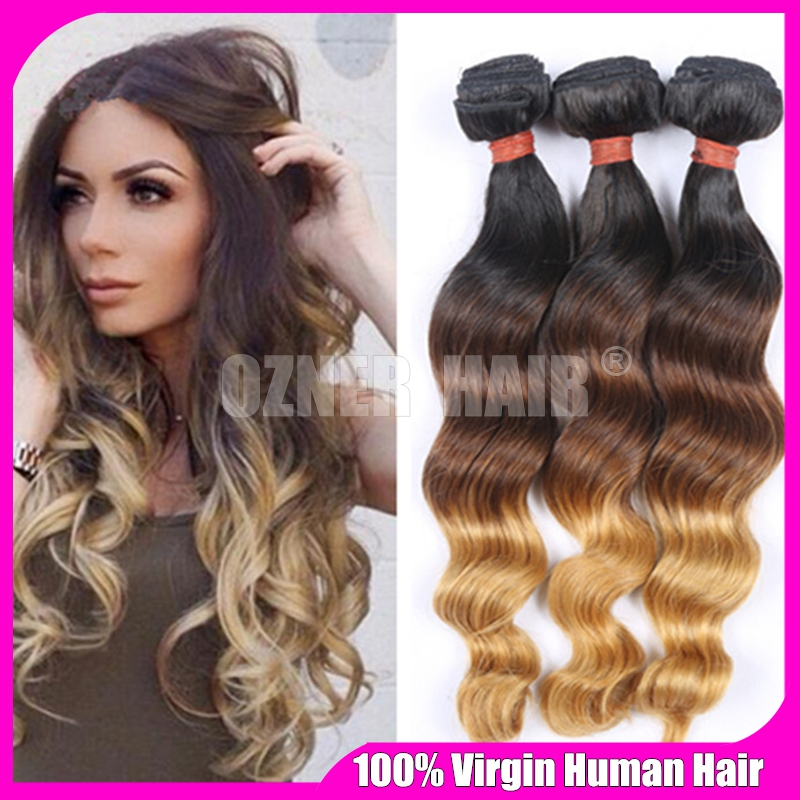Honey Blonde Ombre Wavy Virgin Hair Extensions 3 Bundle Deals Three Tone 1B/4/27 Brown Blonde Ombre Loose Wave Human Hair Weaves(China (Mainland))