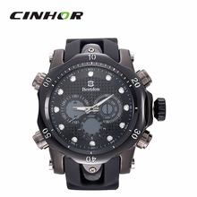 Bestdon BD5515G hombres cuarzo y llevó electrónica Dual Time reloj de pared reloj – negro