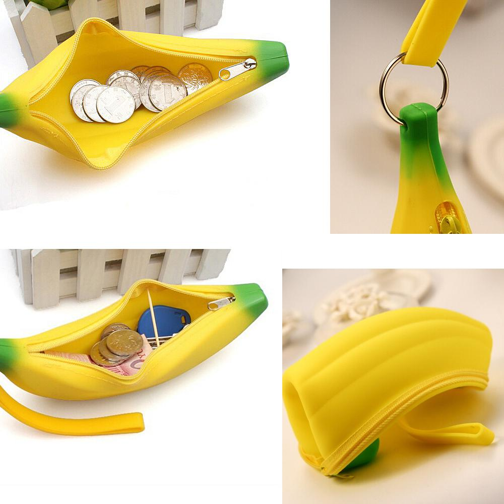 Lovely Women Girls Boys Kids Soft Silicone Portable Banana Shaped Coin Pencil Case Purse Bag Wallet Pouch Keyring(China (Mainland))