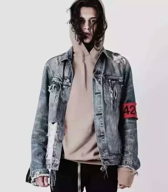2016 TOP Spot red armband four two four 424 ripped hole distressed lt blue denim jacket streetwear urban clothing(China (Mainland))