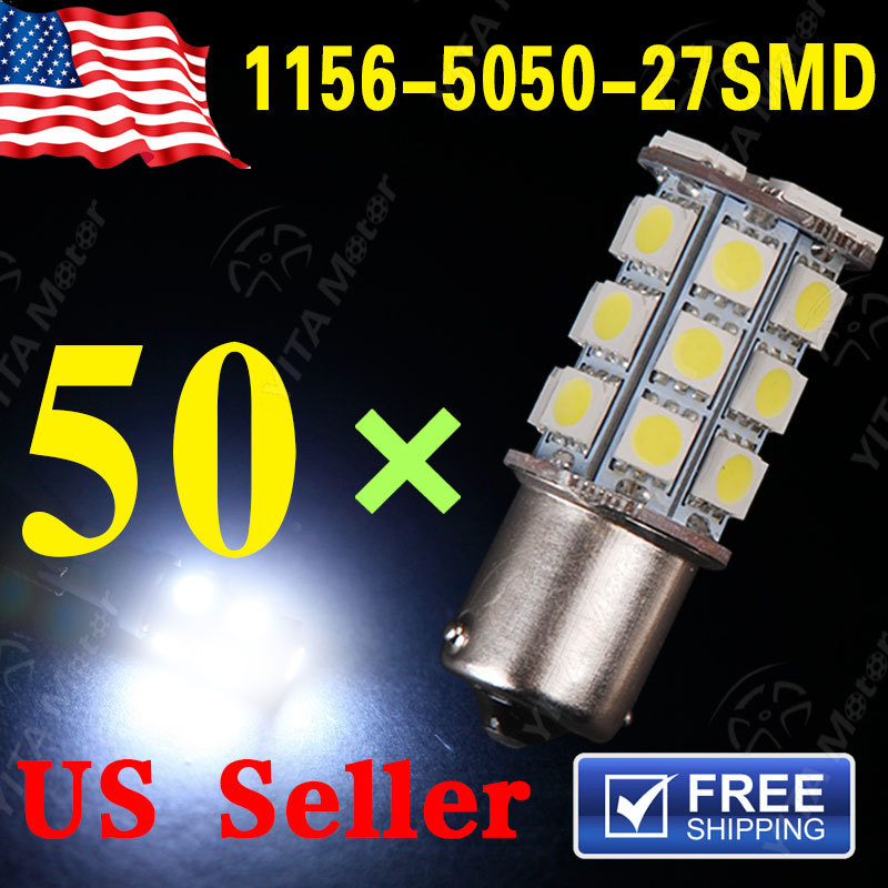 Free Shipping 50pcs Car led Lights 1156 BA15S 27-SMD 1141 5050 27LED Light Lights Bulbs Xenon White rv Car led Lamps Bulbs -A(China (Mainland))