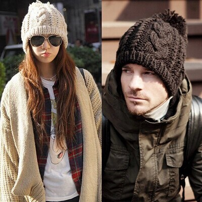Couple Women Men Slouchy Long Beanie top Hat Baggy Basic Skullcap Winter Warm Knitted Chapeau(China (Mainland))