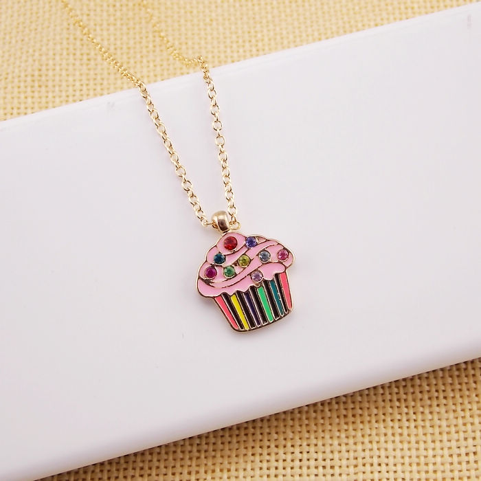2016 Girls Necklace Jewelry Fashion Children Cute Food Heart Cookie Cake Heart Ice Cream Chips Pendant Necklace for Girls(China (Mainland))