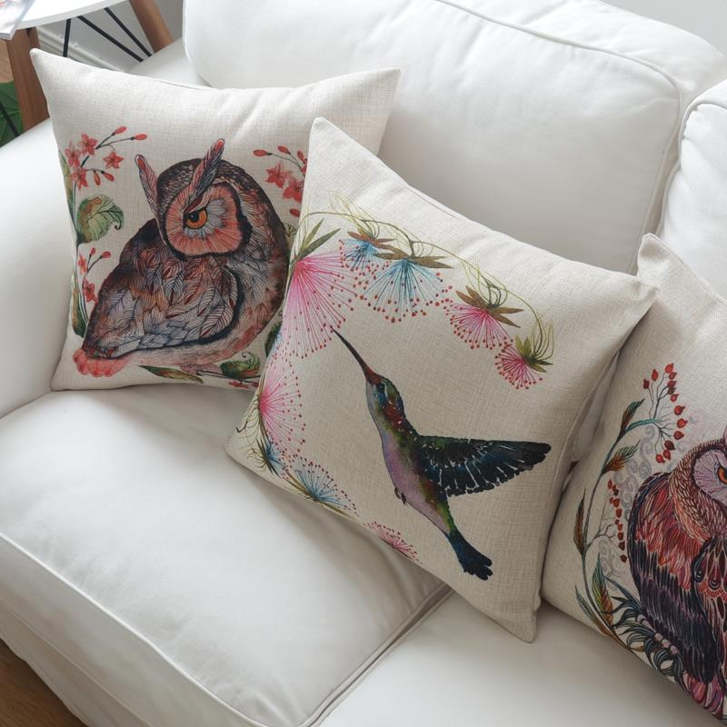 wholesale nordic simple cushions for sofas hand painted cushions home decor animal owl decorative cushion covers free shipping
