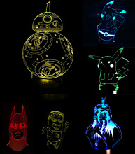 Buy Pokemons Anime Cartoon 3D USB Led night light 7colors Visual illusion Nightlight Lamp Touch Kids Living/Bedroom Table/Desk Light for $9.20 in AliExpress store