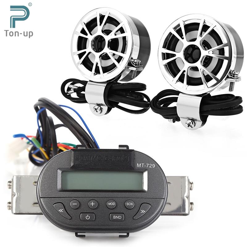 12V MT729 + AV - M183 Water Resistant Anti-theft Motorcycle Speaker Handlebar SD Remote Radio Audio Mp3 Speakers Kit