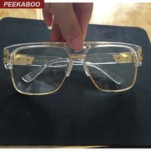 Peekaboo New fashion oversized gold clear frame glasses square high quality designer brand frames for eyeglasses male female big