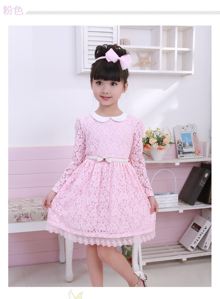 Wholesale 2015 new kids spring girl's dress cute princess dress with the belt children outerwear dress on promotion(China (Mainland))