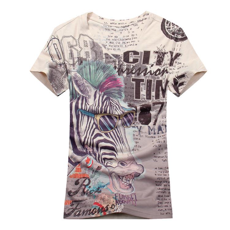 100 cotton mens t shirt fashion zebra print t shirt mens for Digital printed t shirts