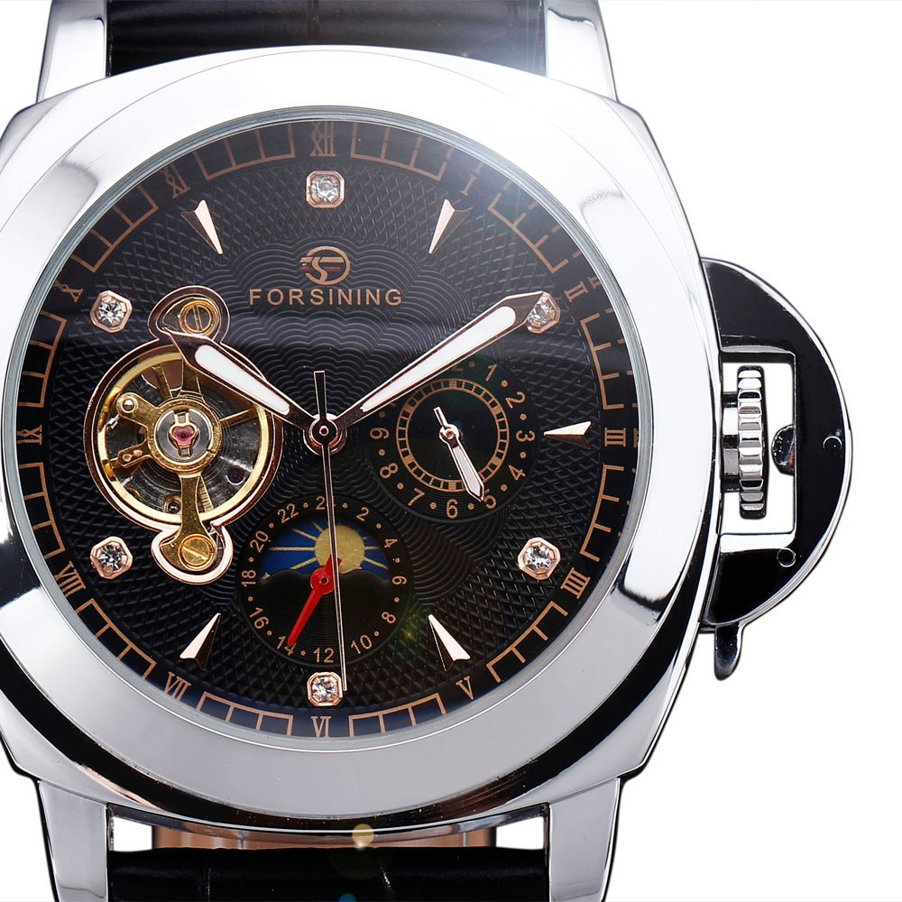 WINNER Men Casual Mechanical Wrist Watch Leather Strap Tourbillion Black Dial Date Display Roman Number