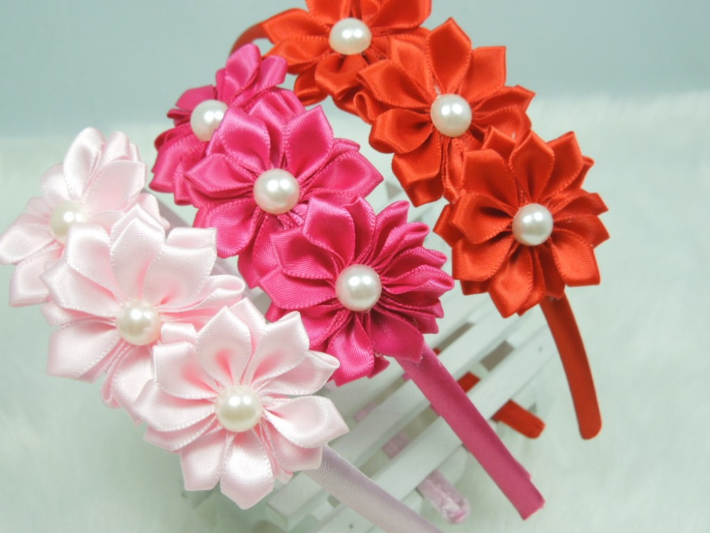 Triple Satin Ribbon Flower Headband Plastic Hairband for Baby Girls Hair Accessories 5 pcs/lot(China (Mainland))