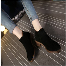SMYCW-B0015 Women Boots Ankle Boots Women Autumn Round Toe Thick Medium Heels High Heels Boots Ladies Stitches Apricot Shoes(China (Mainland))