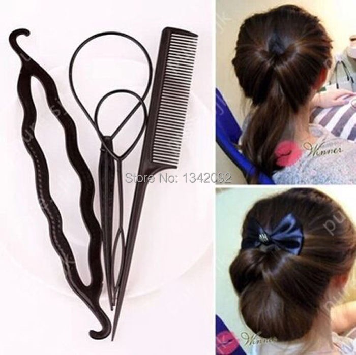 4pcs Magic Hair Clip Twist Styling Accessory Womens Maker Tool Braiding Roller(China (Mainland))