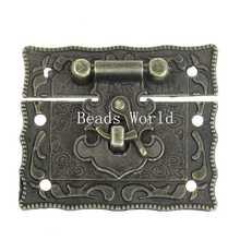 2 Sets Jewelry Box Hasp Latch Lock Decorative Hasp Bronze Pattern Carved 51x29mm (W04373 X 1)(China (Mainland))