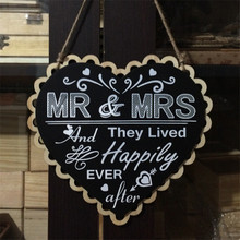 Buy Wooden Wedding Sign Heart Black Board Mr Mrs Party Event Decorating Hanging Signs Photobooth PropsSupplies for $7.99 in AliExpress store