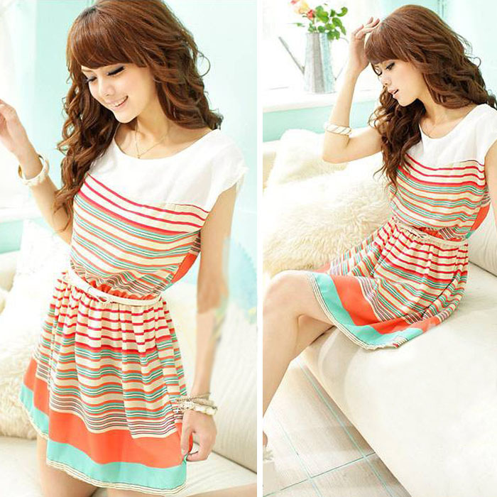 product 2014 Hot Saels New Arrival Sexy Women Casual Mini Dress Chiffon Dress Colorful Sleeveless Stripes Free shipping & wholesale
