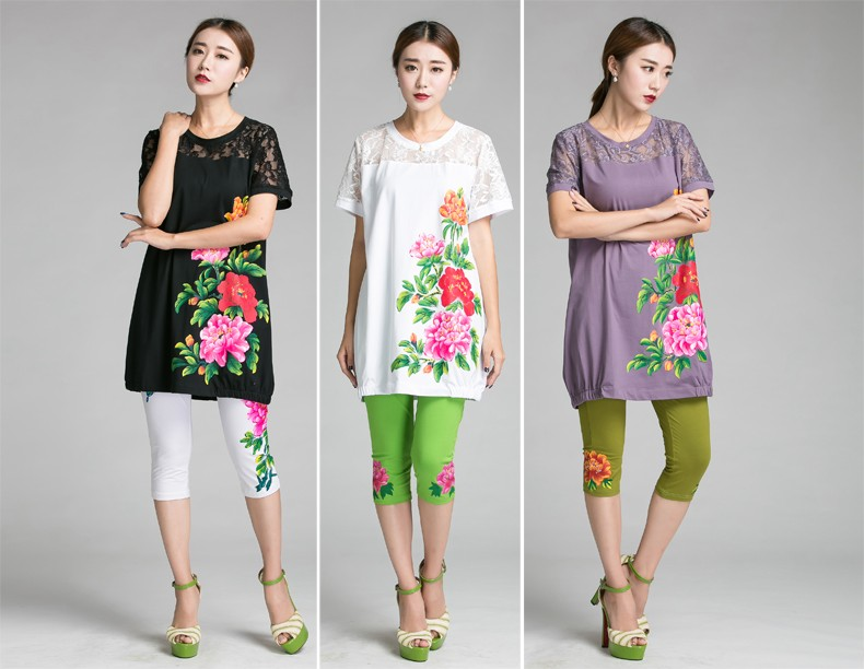 2016 China style peony Hand-paint big size women clothing Summer cotton long T-shirt lace patchwork loose comfortable tee 5XL6XL