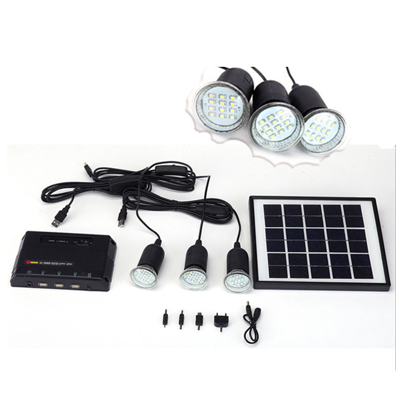 4w Solar Panel Lighting Home System Kit Usb Charger With 3 Led Light Bulb For Countryard Camping