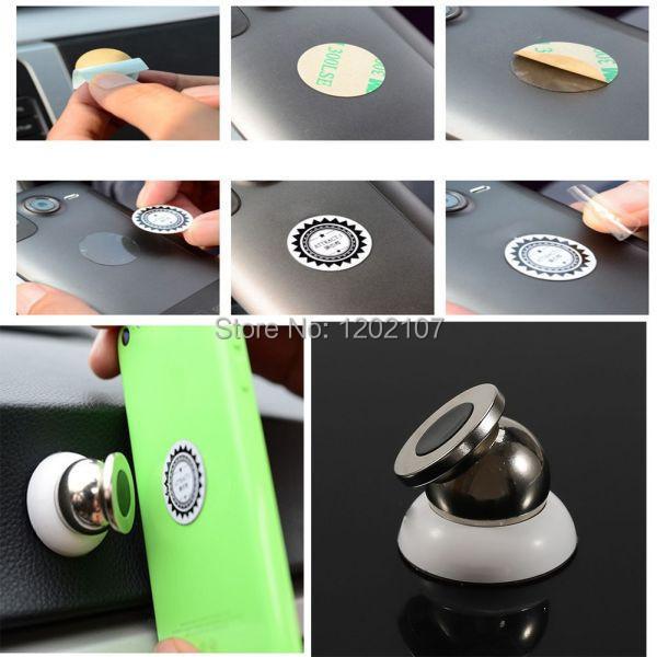 Magnet 360 Degrees Car Kit cell Phone tablet Holder Mini mobile Holder Magnetic Dash Mount Kit magnet holder(China (Mainland))
