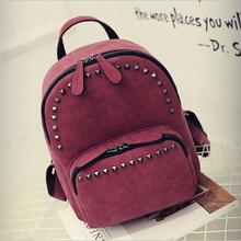 2016 New Women Backpack Preppy Style Suede Backpacks Teenage Girls School Bags Vintage Rivet Travel Backpack Burgundy Gray Black(China (Mainland))