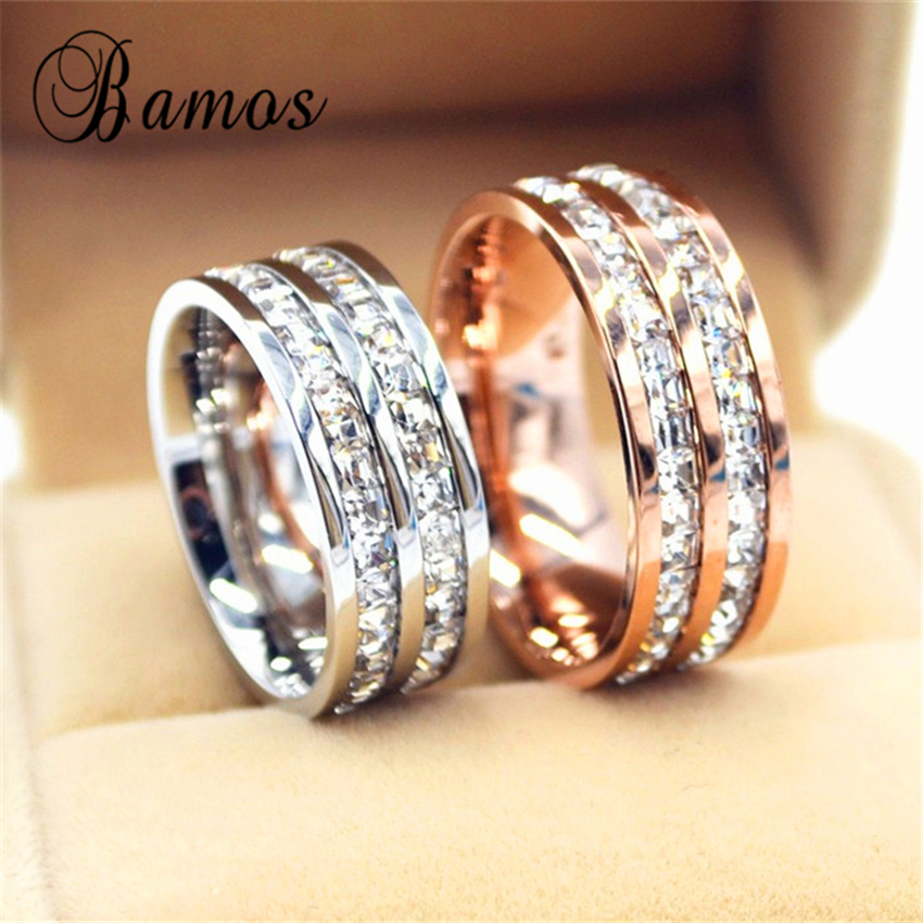 90% OFF ! Female Geometric Crystal Zircon Ring 925 Silver & Rose Gold Ring Promise Wedding Engagement Rings For Women(China (Mainland))