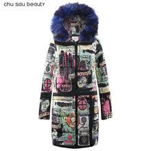 Мех теплый с капюшоном Длинная парка Для женщин пуховик Зимнее пальто стеганая куртка женская зимняя куртка пальто Новинка; для женщин 2018(China)