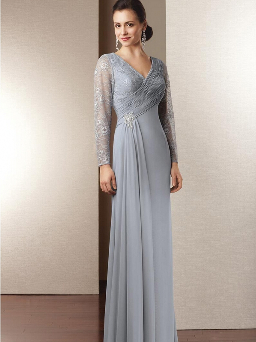 Buy long sleeve chiffon mother of the for Long sleeve chiffon wedding dress