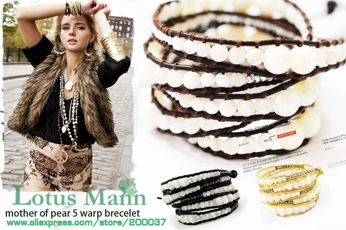 2013 latest mother of pearl on brown leather with wholesale and retail,charm jewelry Wrap Bracelet on Leather(China (Mainland))