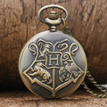 Hot Sale Big H Hogwarts School Motto Vintage Retro Quartz Pocket Watch with Necklace Chain for