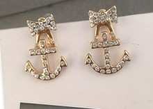 New Stud Earrings Sea Wind Pearl Pirate ships anchor mariner navy wind earrings(China (Mainland))
