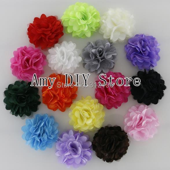 "Free Shipping!100pcs/lot 2"" Mini Petite Satin Mesh Silk Flowers Charlotte Tulle Puff Flower Head Hydrangea Hair Accessories(China (Mainland))"