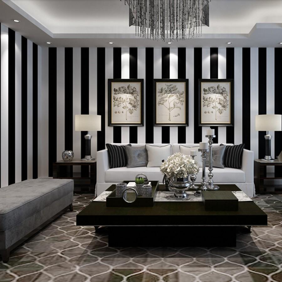 achetez en gros noir et blanc rayures papier peint en ligne des grossistes noir et blanc. Black Bedroom Furniture Sets. Home Design Ideas