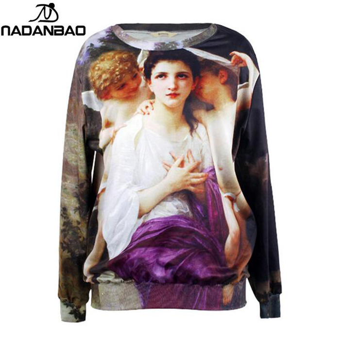 NADANBAO 2017 New Design Women Hoodies Sweatshirt Venus With Angels Printed O-Neck Clothing Long Sleeve Women Sweatshirts(China (Mainland))