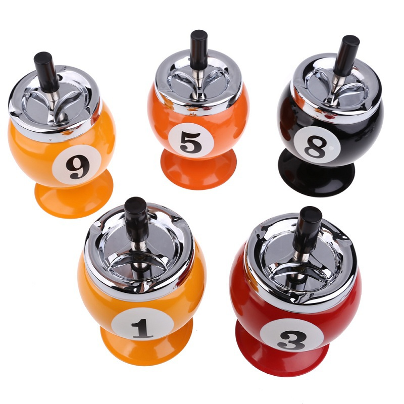 V1NF Creative Stainless Steel Eight Balls Ashtray Billiards Model Tobacco Jar Free Shipping(China (Mainland))