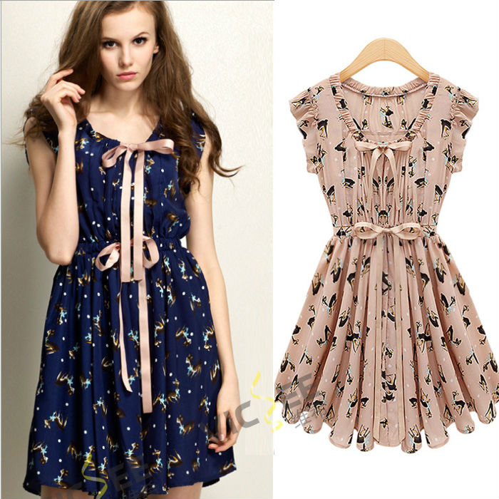 Summer Style Soft Fashion Dress Women's Pleated Short Sleeve Round Neck Cute Deer Print Chiffon - VICSEE International Apparel Ltd store