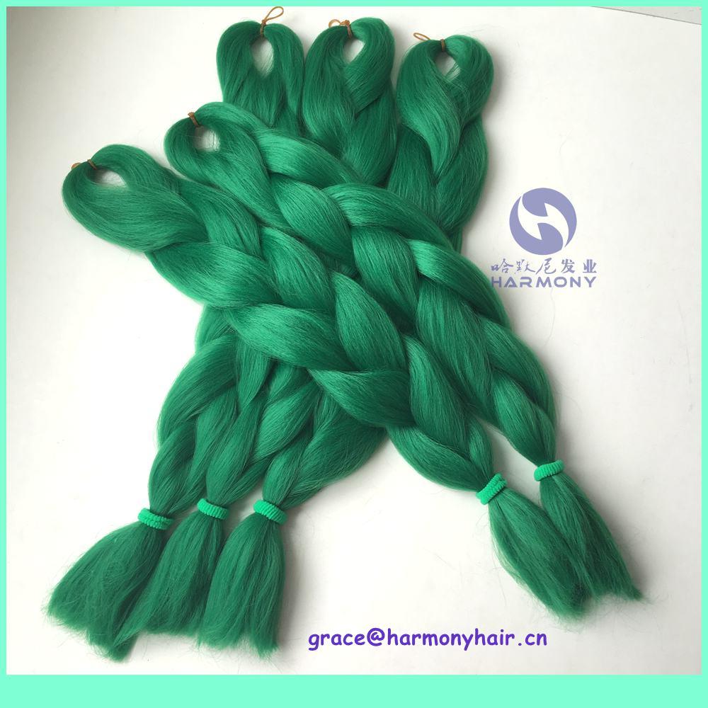 FREE SHIPPING (5packs/lot) 24  80g pure green color jumbo braids synthetic xpression braiding hair kanekalon jumbo braid<br><br>Aliexpress