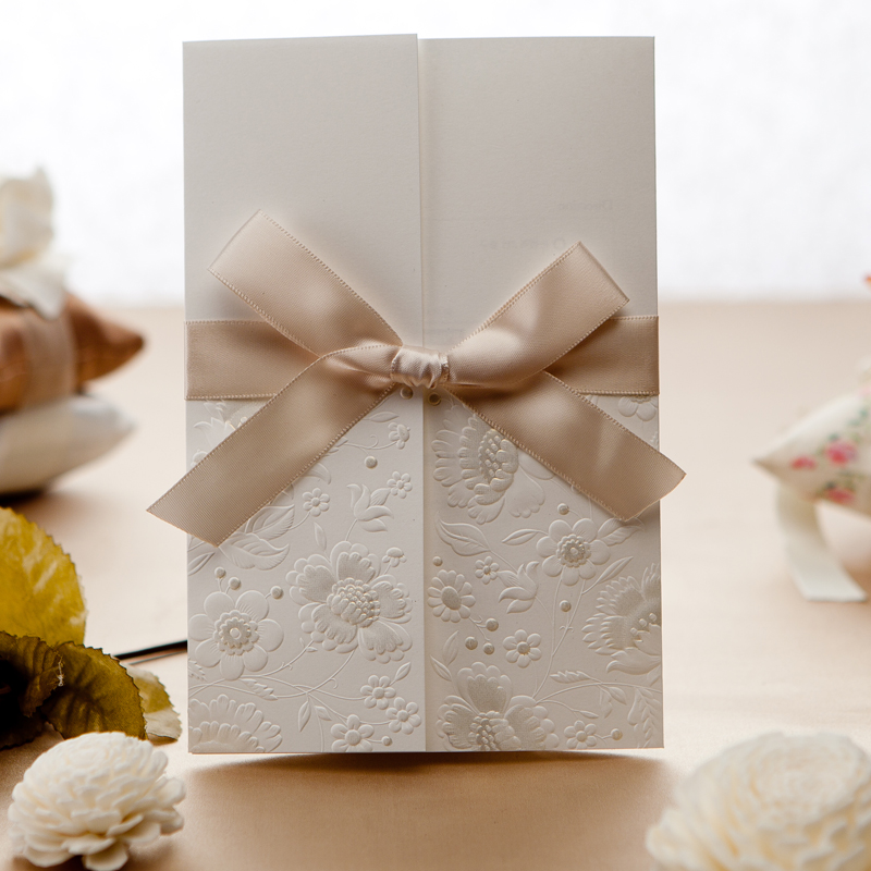 Wishmade invitation cards White Embossing Flowers Decoration Wedding invitations Cards Ribbon Wrap invitations, 50 sets/lot - Shenzhen And Party Supply Co.,Ltd store