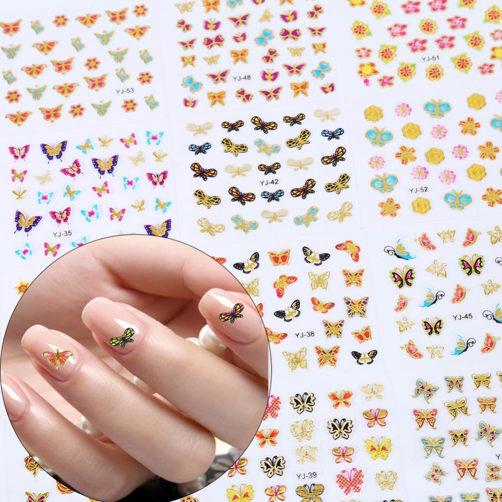 3D Nail Stickers Manicure Decals Bronzing Colors Cute Butterfly Nail Tips Sticker Glitter Decoration Nial Art Tools 24PCS/Set(China (Mainland))