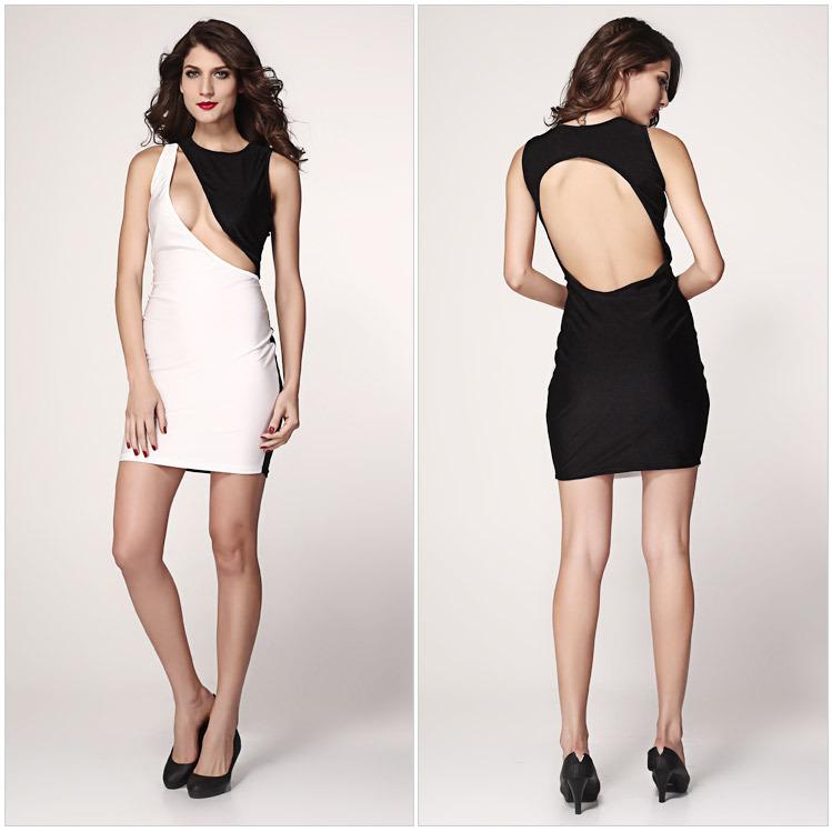Sexy Women Lady Classic Backless clubwear party dress white Black ,free shipping(China (Mainland))