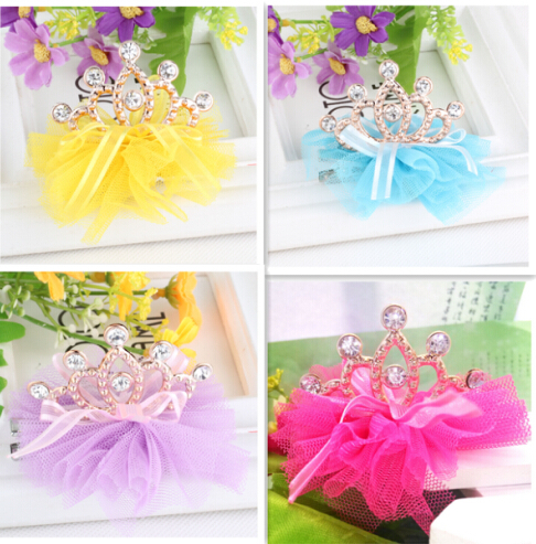 New design shiny Rhinestone crown hair clip girls hair accessories grid yarn crown children accessories ribbon baby hair clip(China (Mainland))