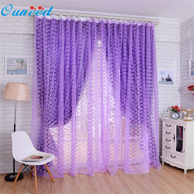 New Striking Rose Tulle Window Screens Door Balcony Curtain Panel Sheer  Scarfs 36(China (
