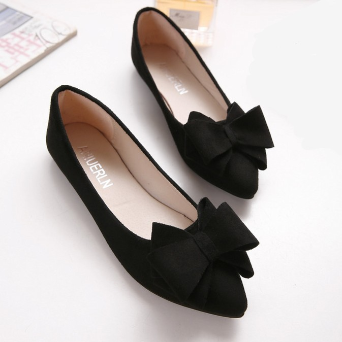 SMYGGX-0026 2016 Spring New Korean Suede Pointed Toe Flats Shoes With Flat Shoe Women Bowtie Shoes Wholesale<br><br>Aliexpress