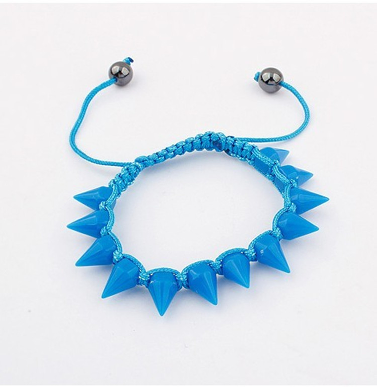 Free shipping wholesale cheap handmade spike punk designs jewelry resin rivet bracelet(China (Mainland))