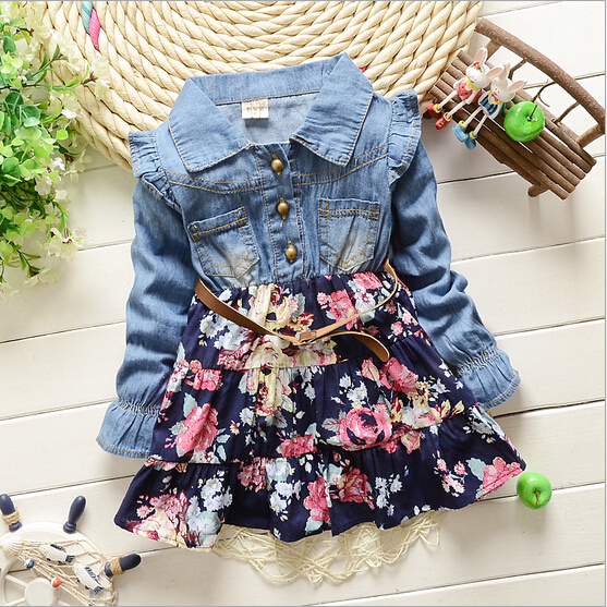 2015 New Fashion Spring Autumn Baby Girls Dress Clothing Children Lace Denim long sleeve outerwear dresses girls jacket dresses(China (Mainland))