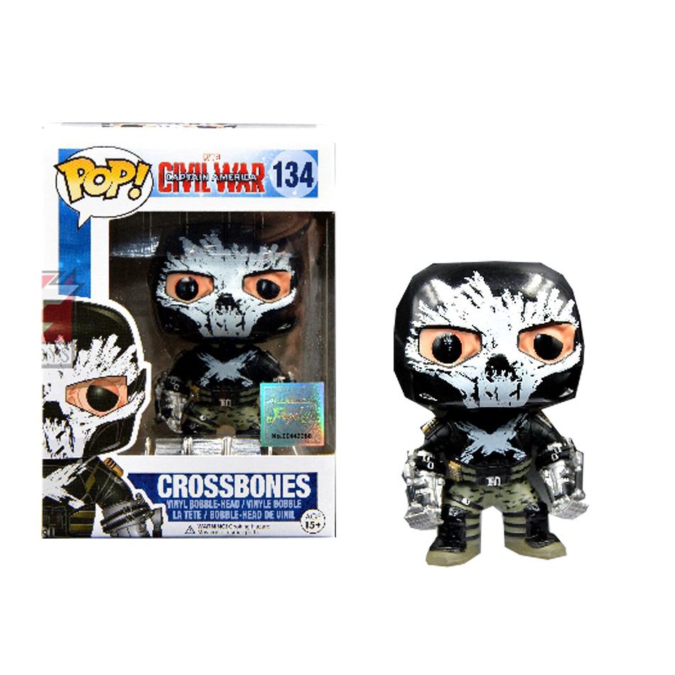 1pcs Original Captain America 3 Crossbones FUNKO POP Black Widow Winter Soldier Black Panther 10cm Collection Model Toy 134(China (Mainland))