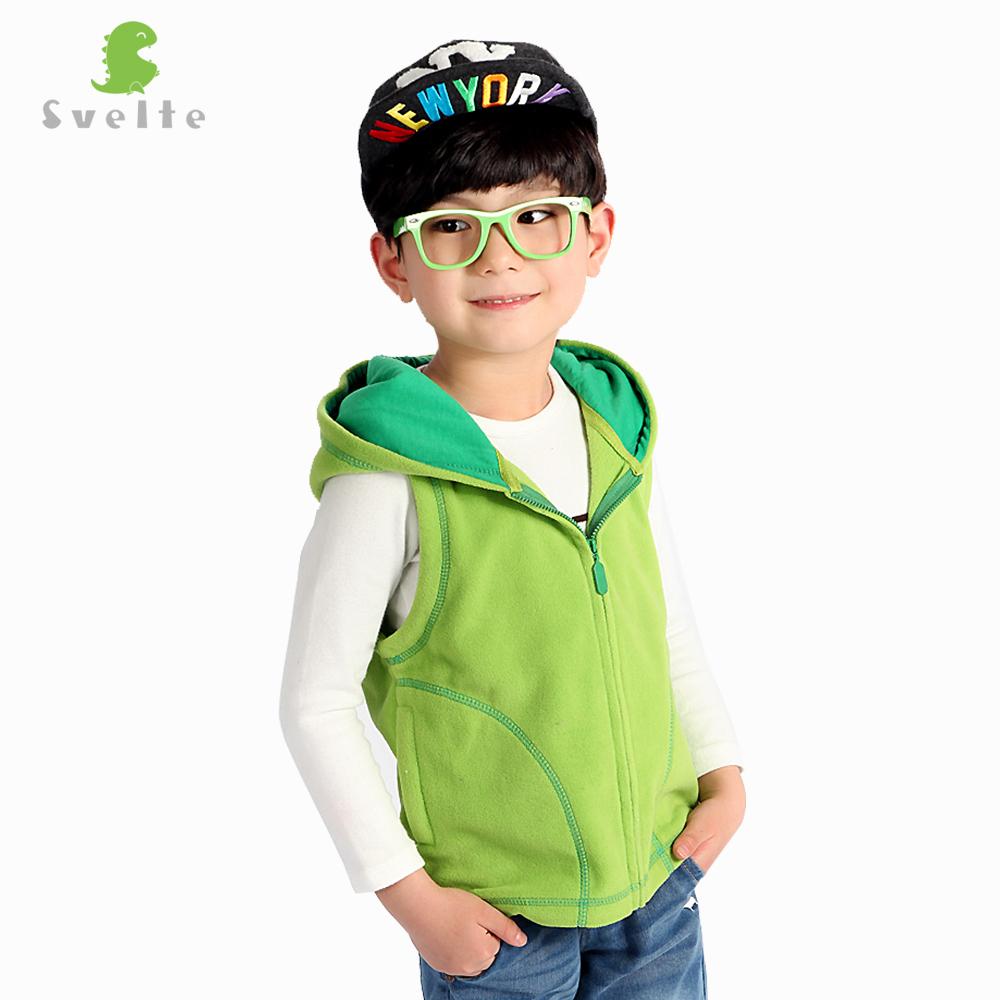 Svelte Brand for Children Boys Girls Unisex Candy Color Fleece Hooded Vest Kids Full Zip Gilet Waistcoat Boy Girl Clothes(China (Mainland))