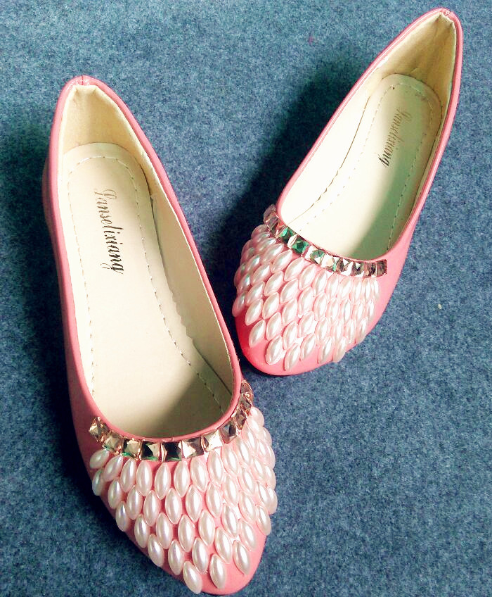 Diy handmade sweet parties shoe pink color fashion prom parties flats shoes pearl decoration flats womens