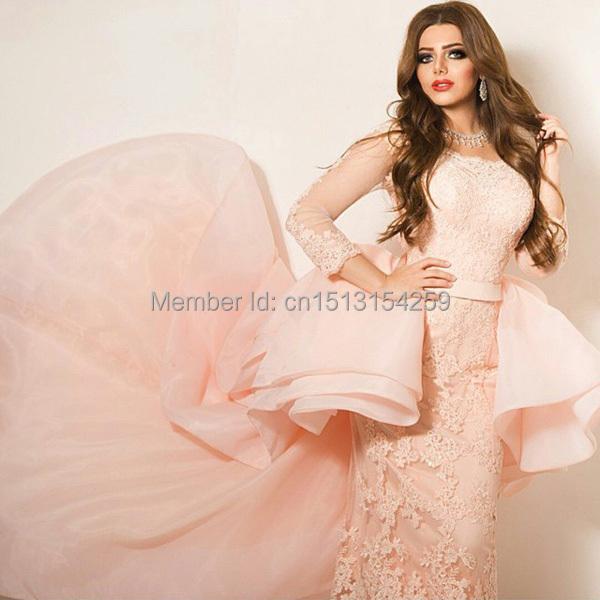 Custom Made Floor Length Prom Dresses Crew Neckline Long Transparent Sleeve Mermaid Appliques Evening 2015 New - DENIA'S BRIDAL DRESSES store