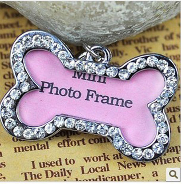 2015 pink pet id tags larger photo frame dog cat bone style tag